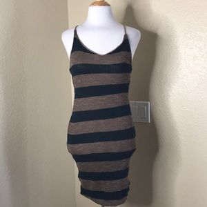 A+ Ellen | Knitted Striped Bodycon Dress Lace Up M